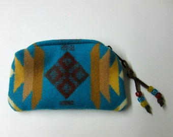 Wool Zippered Pouch Coin Purse Change Purse Accessory Organizer Turquoise Southwest Wool from Pendleton Oregon