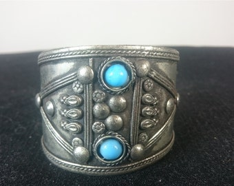 Vintage Silver Metal and Turquoise Stone Cuff Bracelet 1970's