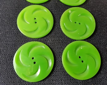 Vintage Set of 8 Lime Green Buttons 1950's - 1960's Mod