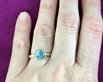 Dara Ettinger VICTORIA Druzy Ring in 14kt Gold/Sky Blue sz 5