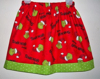Grinch Skirt Christmas Skirts Holiday Skirts Grinch Party Merry Grinchmas Dr Seuss toddler skirts girls skirts Christmas Clothes with Grinch