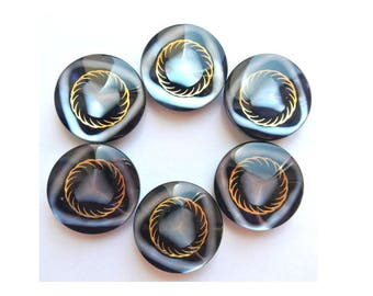 Vintage buttons, 6 pcs, black with inner design in blue and gold color