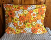 SET 2 king or standard size Vintage mid century modern flower power yellow orange cushion pillow case cottage home decor bedding brady bunch