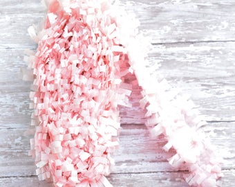 Blush Pink tissue paper fringe garland, tissue paper banner, tissue paper garland, weddings, Party decor, baby shower decor, Bridal shower