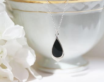 Genuine Black Onyx Necklace Sterling Silver Onyx Pendant Simple Jewelry Teardrop Onyx Pendant