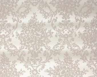 1940s Vintage Wallpaper by the Yard -  Taupe and Cream Victorian Damask