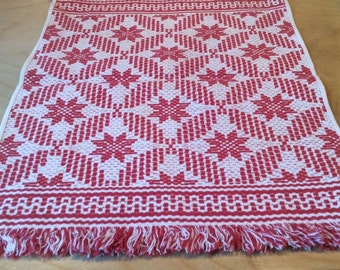 """Two Turkey Red and White Woven Placemats  11"""" X 15"""""""