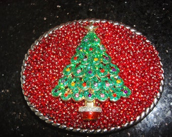Beaded Belt buckle Womens - Christmas Tree