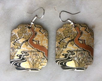 Vintage Japanese Pictorial Earrings, Multi-Metal, Incised, Painted and Patinated Landscape