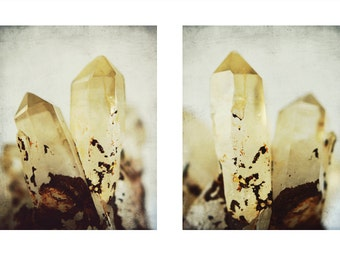 "Crystal photography yellow mineral wall art ""Golden Crystal Set of Two"""