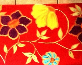 FLOORCLOTH    Hand Painted Canvas Rug  2'x6' / Runner / True Red / Floral / Metallic Gold