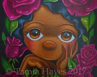 ORIGINAL Big Eye Art Acrylic Painting Flowers Roses Spring Chicasol Tamia
