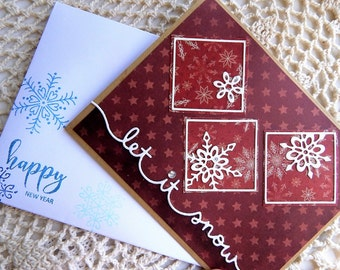 Handmade New Year Card: complete card, handmade, balsampondsdesign, ooak, greeting card, snowflakes, snow, red, card, friend, winter
