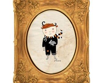 Aries Print, Aries Boy, Zodiac Sign Illustration, Digital Print, Home Decor, Astrology Art Art