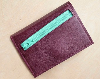 Womens Leather Wallet, Gift for Her, Small Trifold Wallet, Leather Wallet with Coin Pocket, Womens Gift - The Frances Wallet in Burgundy