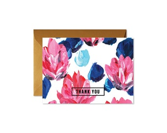THANK YOU Floral Pink and Blue Notes / Set (8) / Shimmery Antique Gold Envelopes