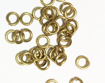 100 pcs of Raw Brass jumpring 6mm round 16 Gauge, bulk jump rings, raw brass jump rings