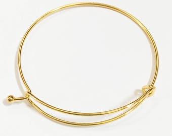 4 pcs Adjustable wire bangle, Gold plated steel bangle, bulk wire bangle 65mm