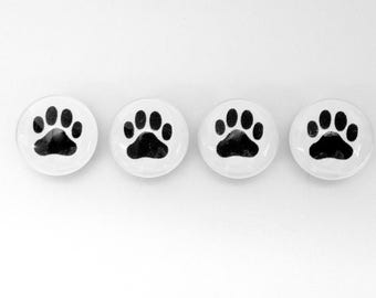 Good Dog- Paw Prints - set of 4 - choose magnets or push pins - great gift for dog sitter- walker - pet lover