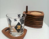 Nice Vintage Mid Century Woodcrest Cork and Wood Coaster Set
