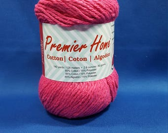 Premier Home, Cotton yarn, 80g skein, light worsted weight, cotton - polyester blend, 'FUCHSIA'