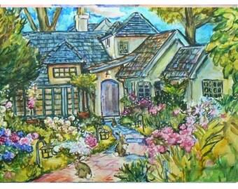 BUNNY LANE-11x15 original painting landscape watercolor OOAK, Original Watercolor, Signed & Dated Painting, Cottage, Rabbits, Garden Flowers