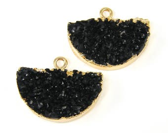 Black Faux Druzy Earring Findings Black Faux Druzy Half Circle Pendant Drusy Earring Charm Gold Trimmed Jewelry Finding |BL1-1|2