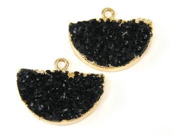Black Faux Druzy Earring Findings Black Faux Druzy Half Circle Pendant Drusy Earring Charm Gold Trimmed Jewelry Finding |BL2-1|2