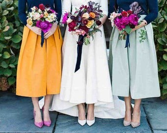 Silk faille fabric swatches yellow white navy pink green celadon ivory black bridesmaids skirts