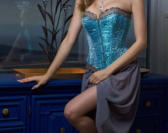 Turquoise blue and silver silk brocade corset with lace