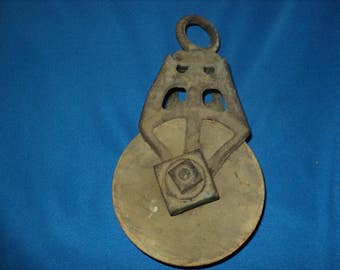 Old Vintage Nautical-- Barn Pulley--Hay Loft-- Metal and Wood-Rustic Old Wooden Pulley