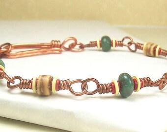 Mens Bracelet, Womens Bracelet, Green Bracelet, Brown Bracelet, Coconut Shell Bracelet, Vinyl Bracelet, Copper Bracelet, Red Yellow Bracelet