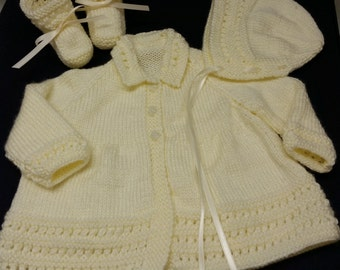 Baby Sweater Set, Hand Knitted Sweater Bonnet Booties, 3-6 months, Baby Girl, Reborn Doll, Cream, Shower Gift, Christening, Baptism