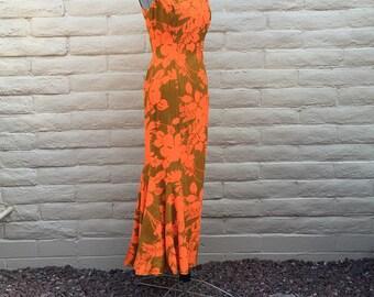 Vintage Hawaiian Maxi Dress Rockabilly VLV Orange Floral Sz S
