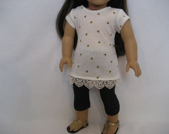 18 Inch Doll Clothes - Tiny Triangle Top with Leggings made to fit dolls such as the American Girl doll clothes