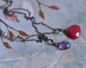 Rustic Ruby Necklace - Amethyst Necklace - Double Strand Necklace - Oxidized Sterling Silver Link Necklace - Labradorite Necklace