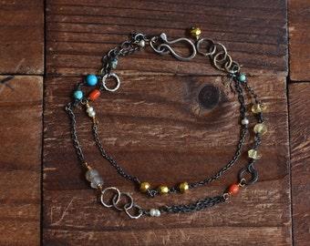 Double Strand Bracelet - Oxidized Sterling Silver Bracelet - Mixed Metal Bracelet - Mixed Stone Layer Bracelet - Dainty Layer Bracelet