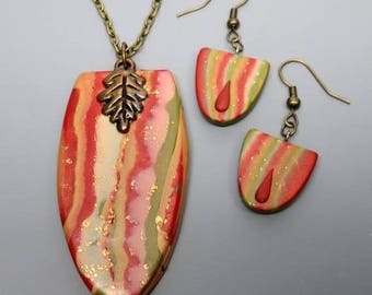 HALF OFF SALE Polymer Clay Pendant and Earrings, Mokume Gane, Olive and Persimmon, Handmade, Ooak