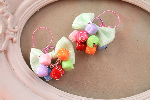 Dice rainbow and bow dangle earring kawaii cute fairy kei lolita