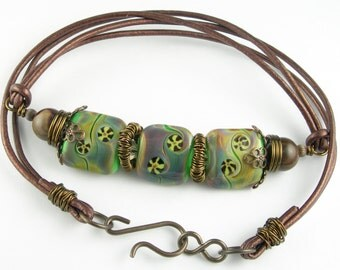 Boho Tribal Steampunk Lampwork Glass Leather Necklace with Gemstones Crystals and Vintaj Antiqued Brass in Brown Copper Purple Blue Green