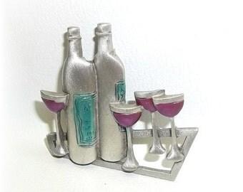 Wine bottle Glasses JJ pin Jonette brooch pewter enamel Celebrate Party