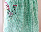 Vintage Green & White Chicken Scratch Half Apron With Rooster Gingham Handmade Apron For Women