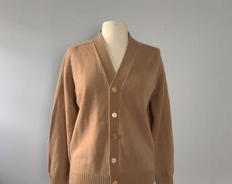 Tan knit cardigan boyfriend cardigan/ classic tan cardigan sweater