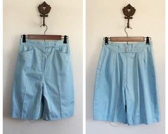 Vintage 1960s buckle back shorts Blue shorts long shorts 26 wasit