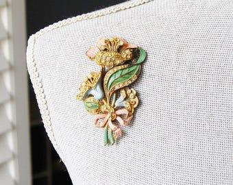 Vintage Rhinestone Flower Bouquet Brooch Enamel Bow Figural Coro Unusual Wiggle