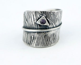 Bark Textured Adjustable Sterling Silver Sculpted Ring with cz