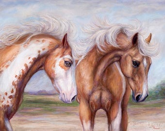 Original horse Painting in Soft Pastel of 'Wind Swept' Custom Framed with Museum glass