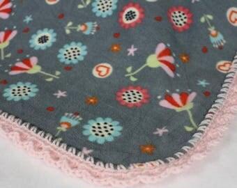 Flowers Fleece Blanket with Pink Crochet Edges