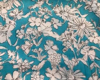 4 Yards of Vintage Aqua & White Floral Print Cotton Blend Fabric