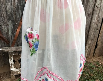 Vintage Sheer Organdy Ladies' Half Apron With Pink and Blue Hankies and Red and White Rick Rack Trim